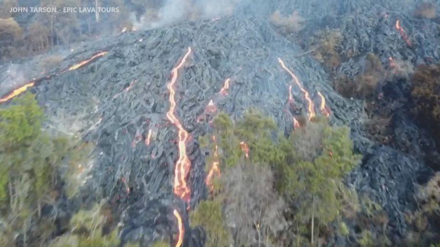 VIDEO: Lava Pours Down Pali, Burns Through Kipuka