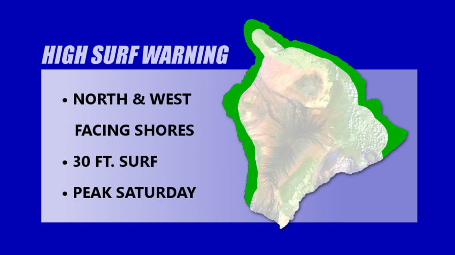 High Surf Warning For Hawaii Island, 30 ft Surf Possible