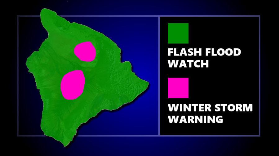 Flash Flood Watch, Winter Storm Warning For Hawaii