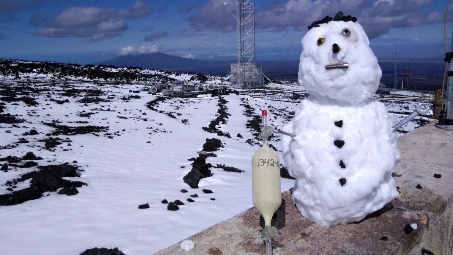Snowy Postcard From Hawaii's Mauna Loa