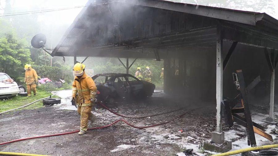 VIDEO: Fire Engulfs Unoccupied Tiki Gardens Home