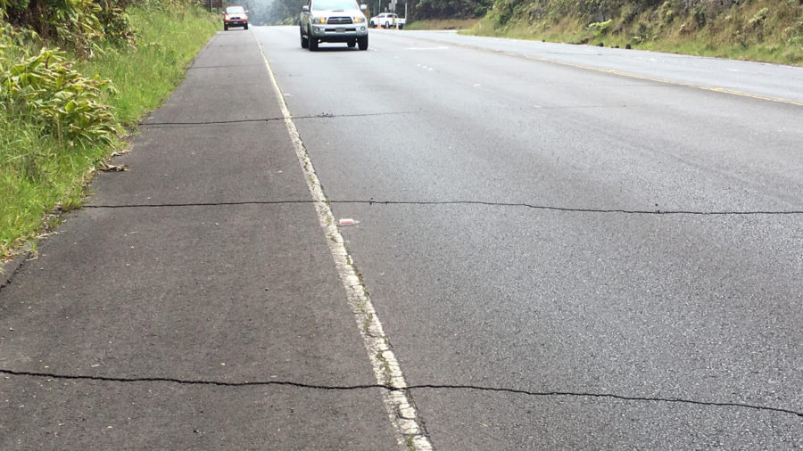 Cracks Appear On Highway 11 In Volcano