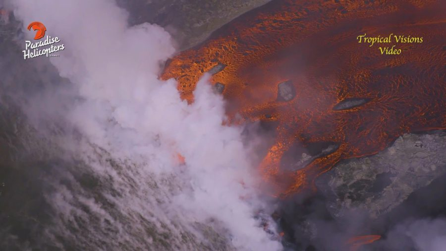 VIDEO: 7 pm Eruption Update – Broad Ocean Entry At Kapoho Continues