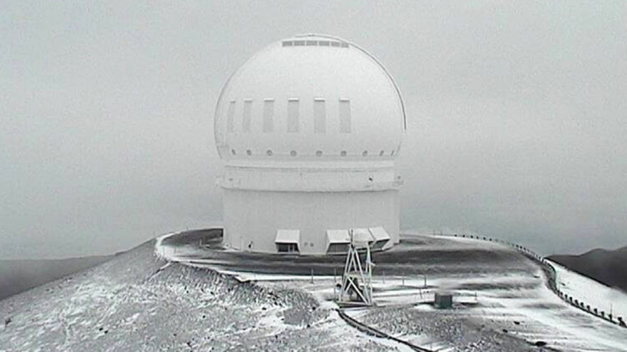 Mauna Kea Access Road Closed, Snow Dusting At Summits