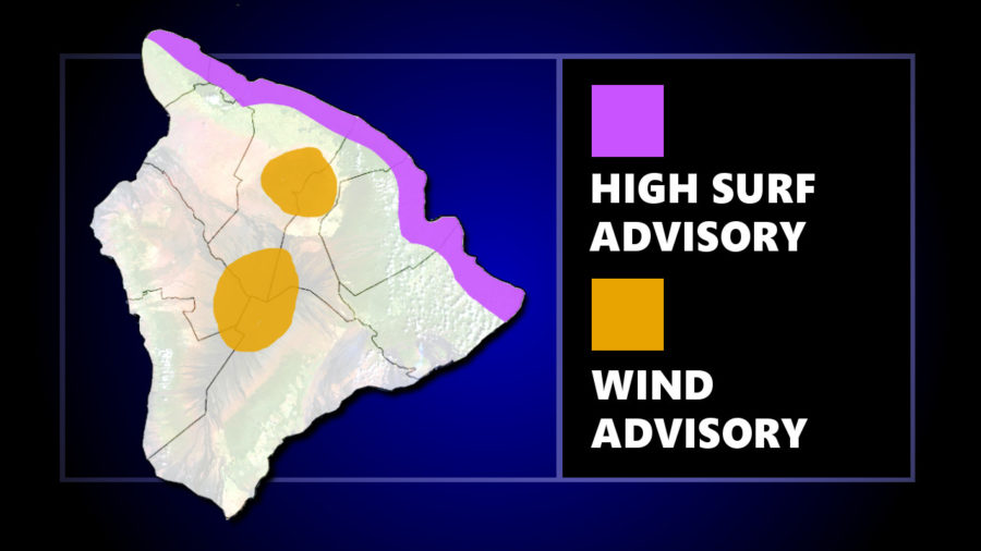 High Surf Advisory For North Shores, Wind Advisory For Summits