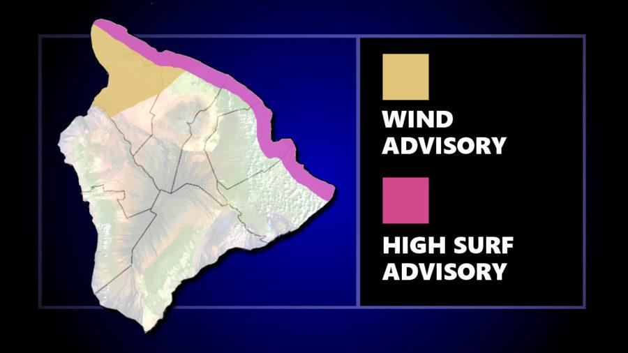 High Surf For East Shores, Wind Advisory For Kohala