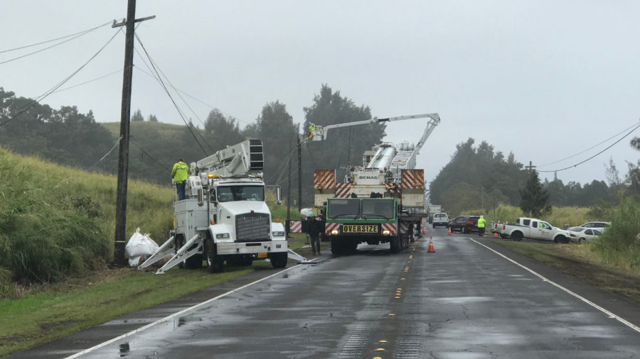 Work To Restore Power In Hamakua Continues Into Night