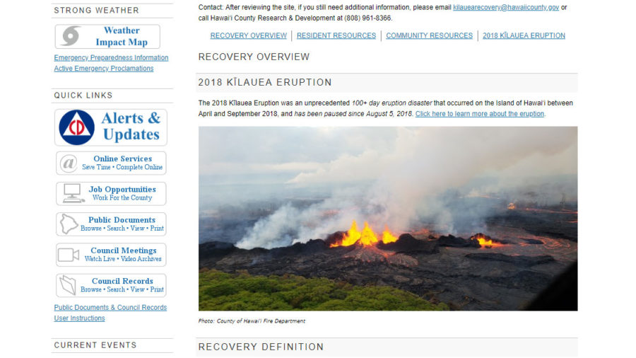 Hawaii County Launches Kilauea Eruption Recovery Webpage