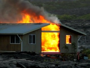 Lava destroys home in Kalapana