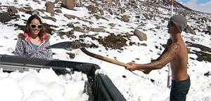 Mauna Kea snow shoveling