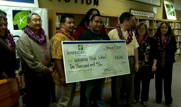 "VIDEO: Waiakea rewarded in American Savings ""Bank for Education"""