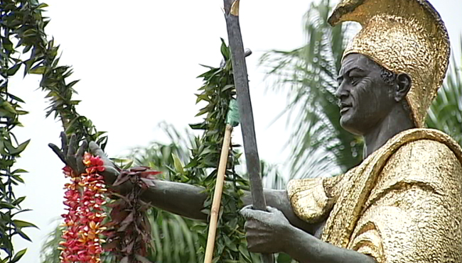 VIDEO: Kamehameha statue lei draping ceremony in Hilo