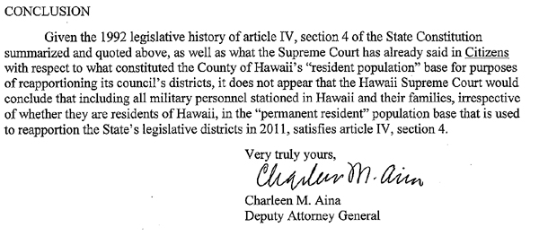 Hawaii attorney general says military cannot be counted