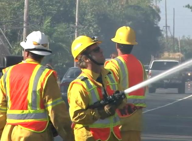 VIDEO: Hawaii fire department douses Kona brushfire