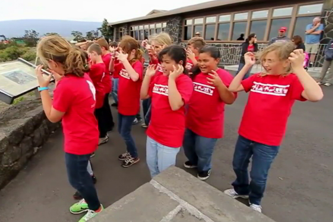 VIDEO: School children perform chant over Hawaii volcano
