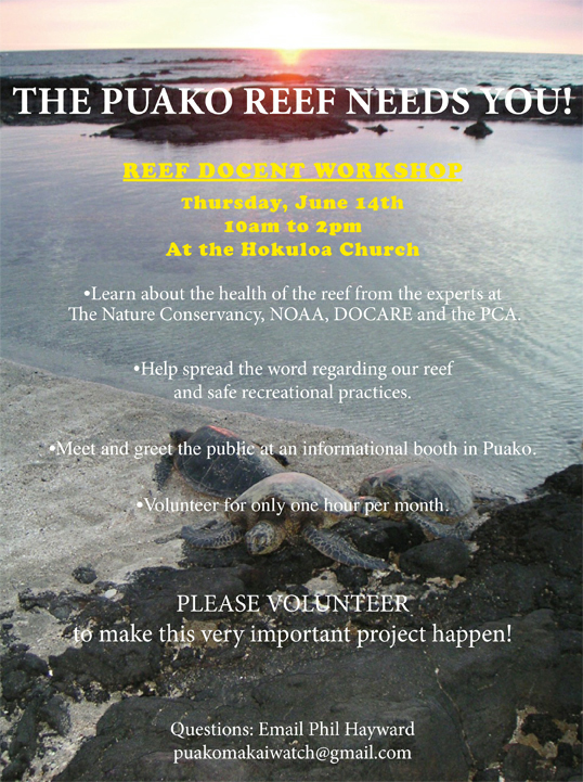 Puako Reef-Greeter training, June 14th