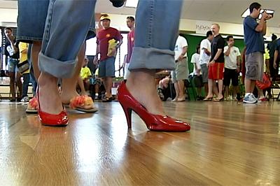 VIDEO: Men don women's foot wear for WhY-Walk