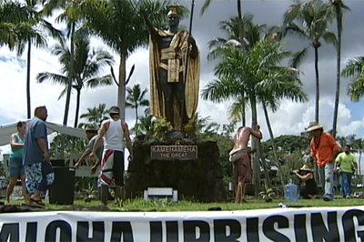 VIDEO: Unauthorized garden planted at Hilo Kamehameha statue on 9/11