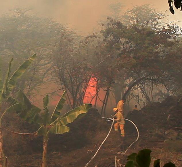 VIDEO: Brush fire burns in Kona