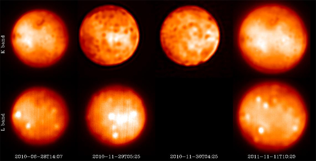 Io's fiery show monitored with adaptive optics