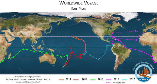 A closer look at the official sail plan for the Worldwide Voyage, courtesy the Polynesian Voyaging Society