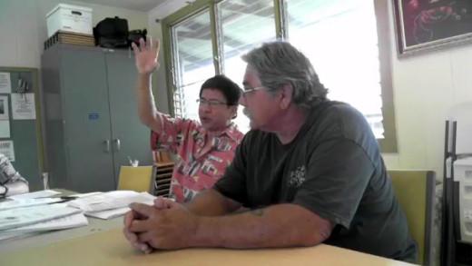 Palikapu Dedman, Ohana Hoopakele president (right) and Bill Chang (left), taken from Occupy Hawaii video.