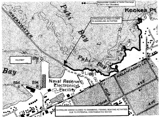 DEM map shows location of discharge and closed shoreline