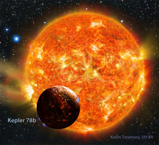 Artist impression of the planet Kepler-78b and its host star, CREDIT: KAREN TERAMURA (UH/IFA).