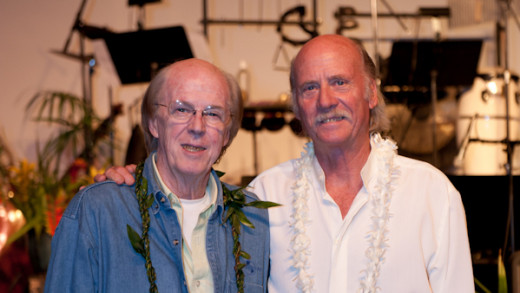 "Kent and Gary Washburn at the premier of Gary's original music, ""Earth Life: October Full Moon,"" in Honokaa -- Sarah Anderson Photography."