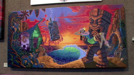 """Have you seen this painting? """"Forbidden Island"""" has been illegally reproduced on various products, according to the artist behind the work, """"Tiki Shark"""" Brad Parker"""