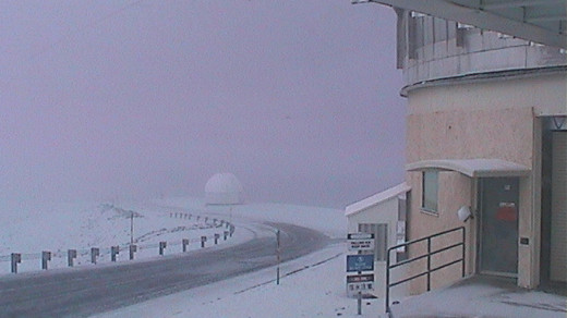 Snow fall on Mauna Kea is seen on this webcam image courtesy the United Kingdom Infrared Telescope