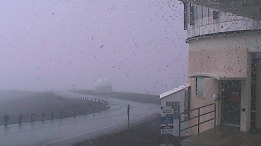 High winds hit the summit of Mauna Kea. Photo from Joint Astronomy Centre webcam at 1:15 p.m. HST