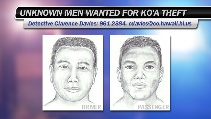 Unknown men wanted for koʻa theft in Puna
