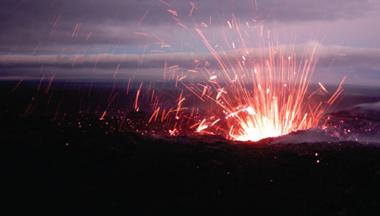 Pu'u O'o active, lava spattering
