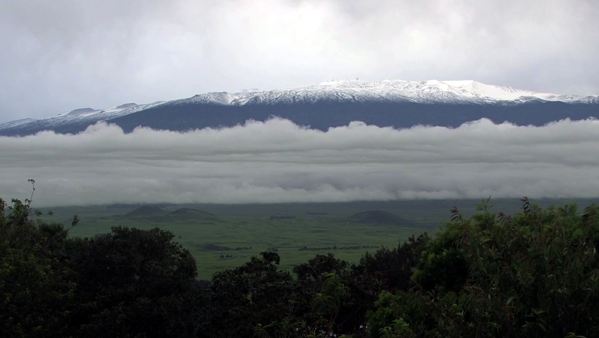 Deep snow covers Mauna Kea