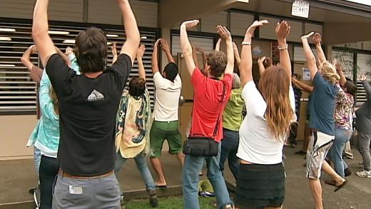 Spontaneous Hawaiian chant outside Honokaa cafeteria where Governor Abercrombie spoke on Saturday.