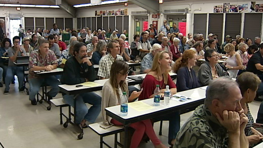 The Waimea Middle School cafeteria was filled with members of an interested community Thursday night