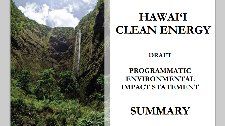 Hawaii Clean Energy Draft PEIS Published