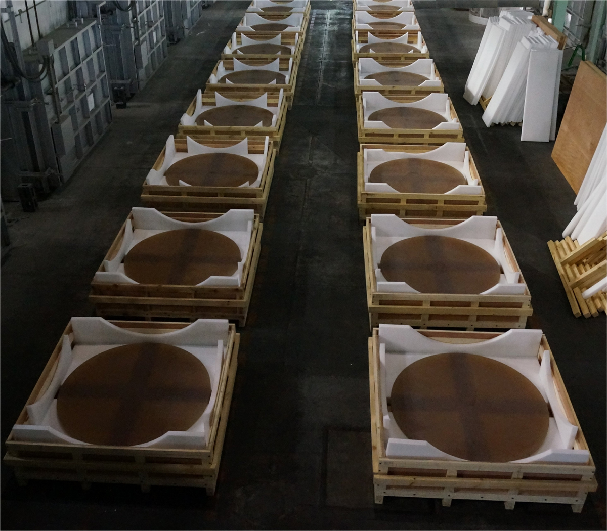 TMT primary mirror blanks, produced by OHARA in Japan. CREDIT: Thirty Meter Telescope