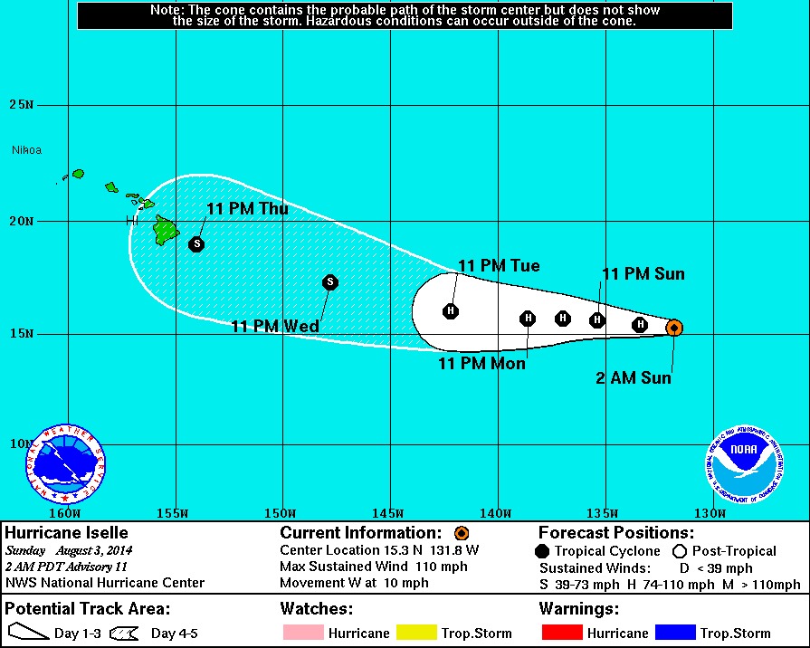 Hurricane Iselle Tracks Towards Hawaii Island