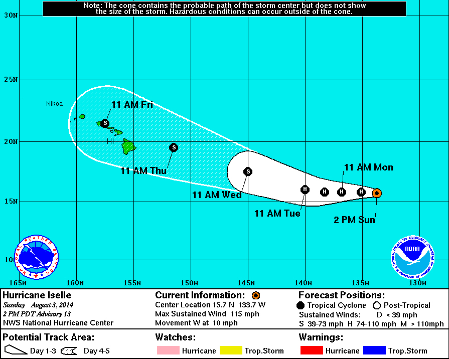 Major Hurricane Iselle Maintains Strength, Heads Towards Hawaii
