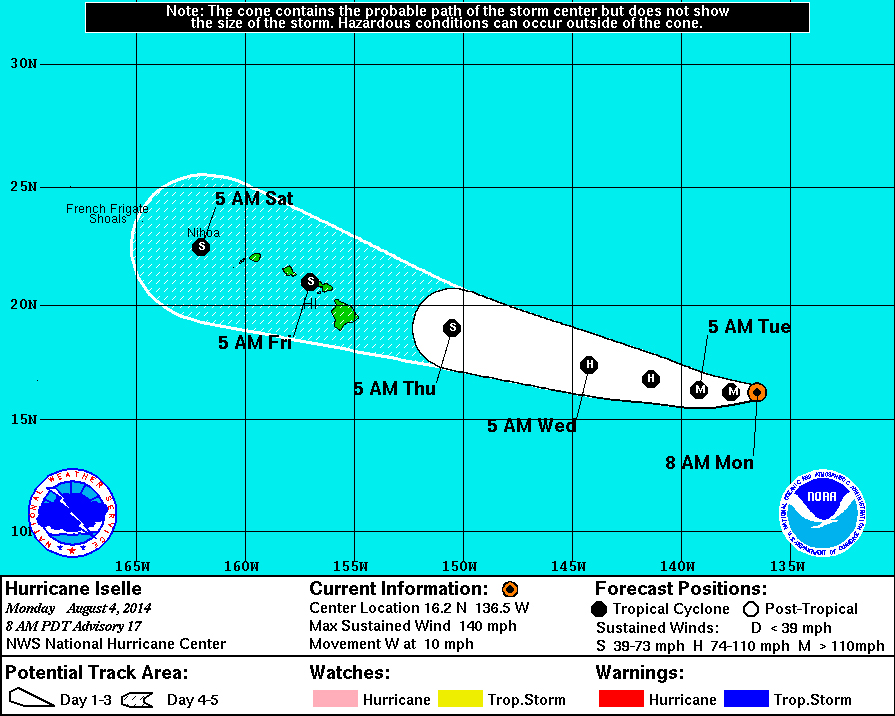 Now Category 4, Hurricane Iselle Continues Hawaii Path