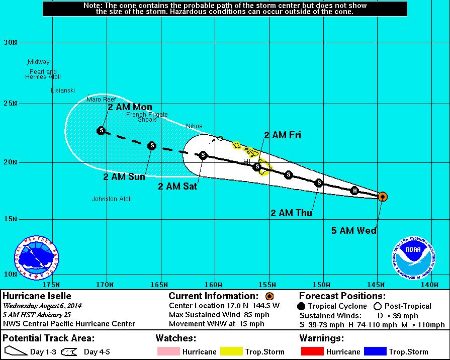 Hurricane Iselle Weakens, Still Tracking Towards Hawaii