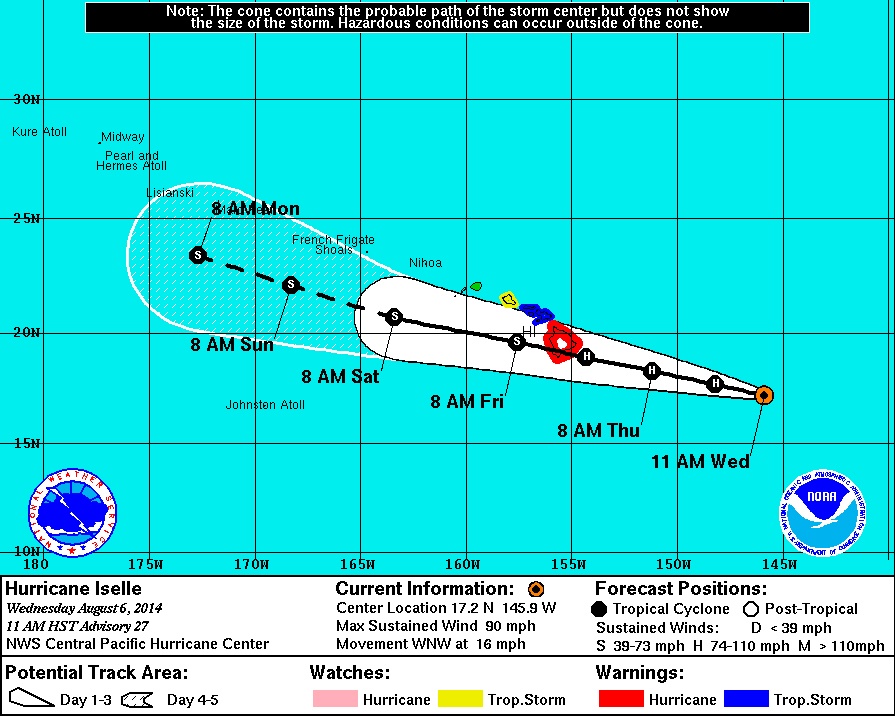 Hurricane Warning for Hawaii Island, Iselle Appears to Strengthen