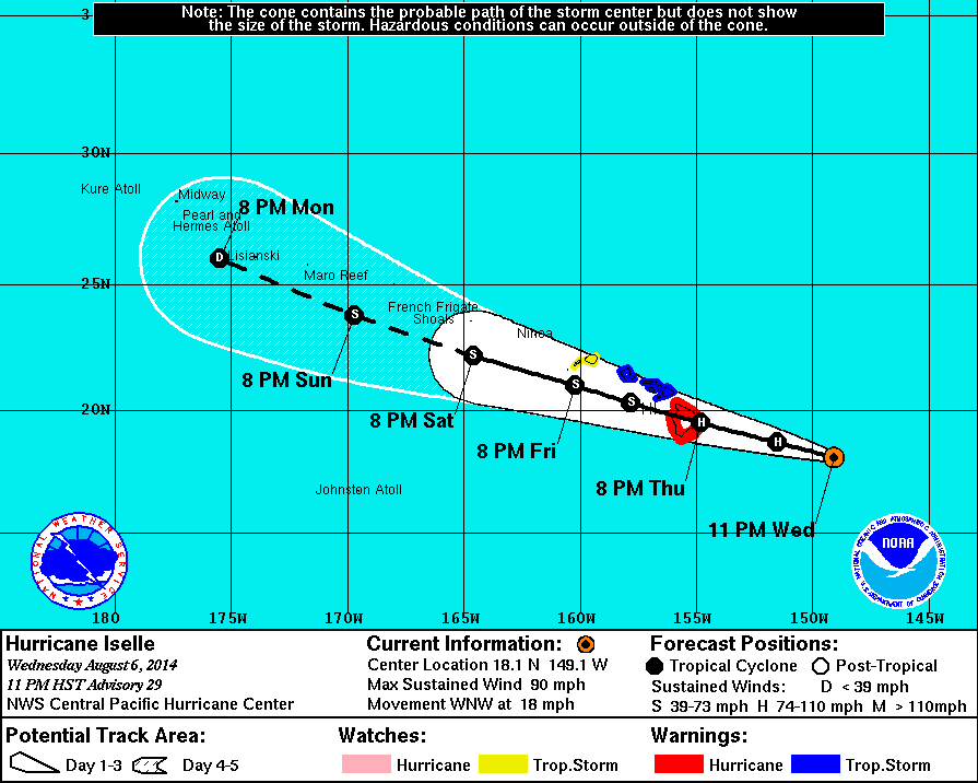 11 pm Hawaii Iselle Update: Direct Hit Appears Certain
