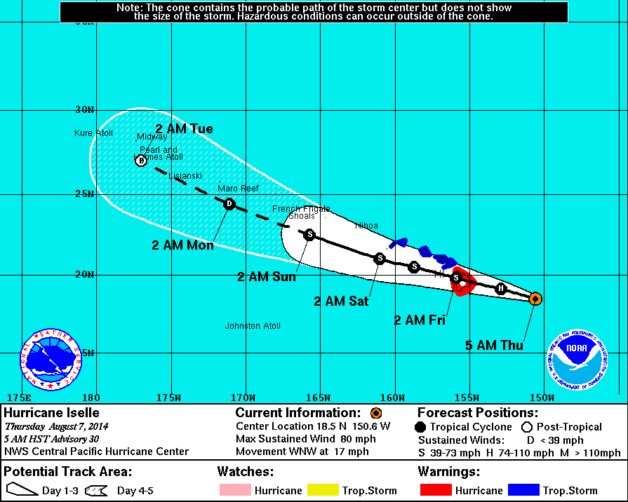 5 am Hawaii Iselle Update: Storm Weaker, But Still A Hurricane