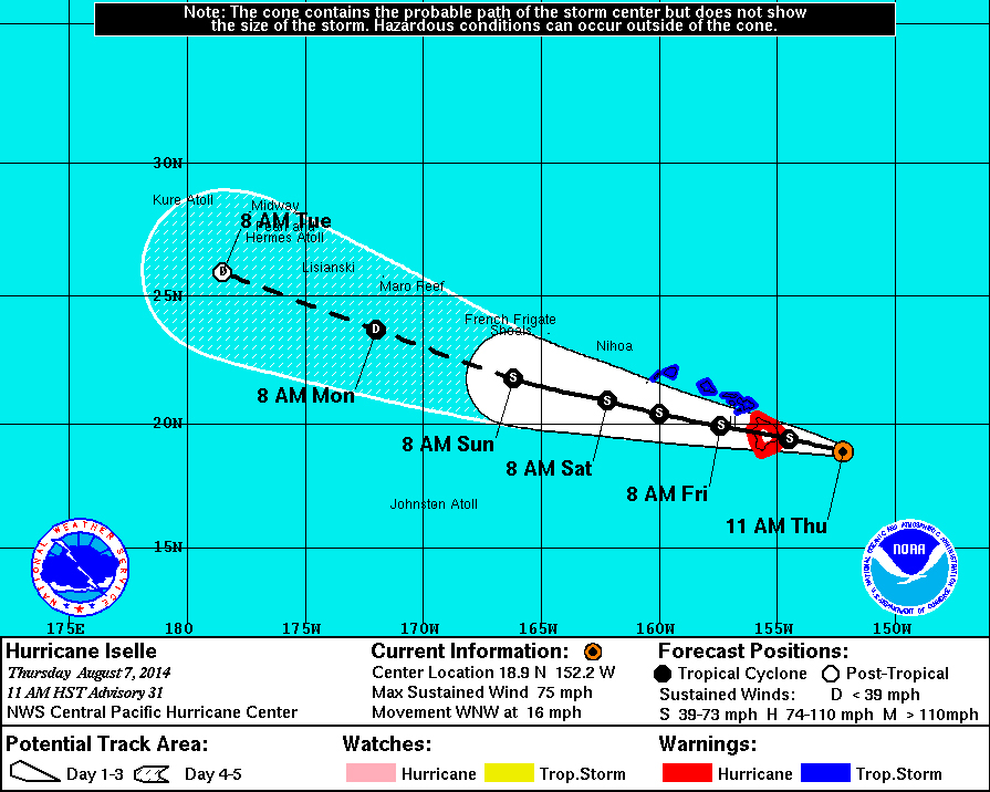 11 pm Hawaii Iselle Update: Hurricane Weakens