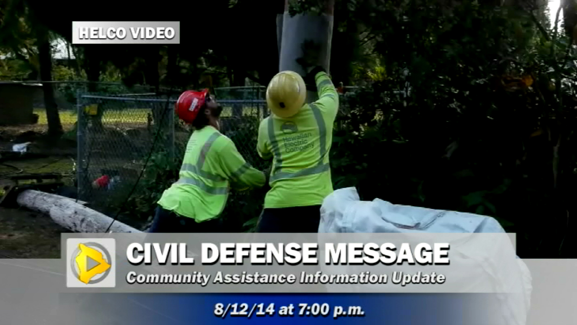 VIDEO: Hawaii County Civil Defense Message (Tuesday evening)