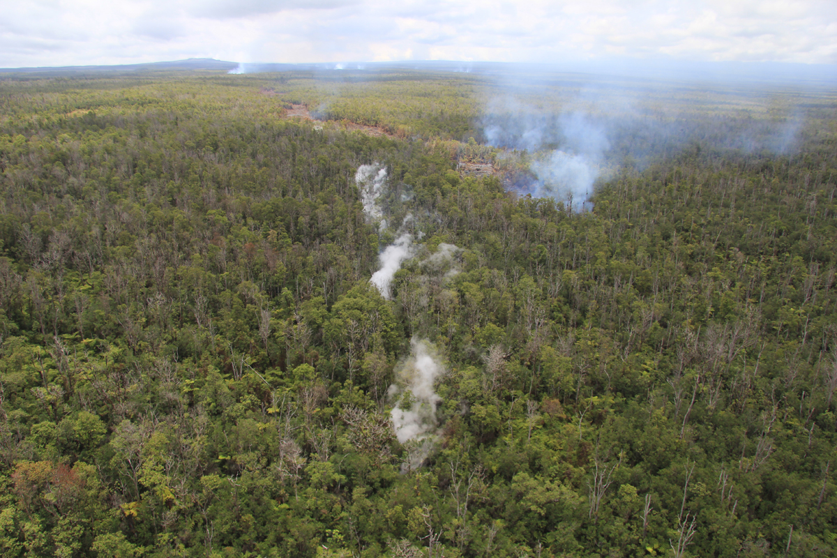 (USGS HVO photo and caption) Extending slightly beyond the lava flows on the surface, a steaming ground crack indicates that lava is continuing to move beneath the surface. The front of the surface flows is just above and to the right of the center point of the photograph, and the steaming ground crack runs along the vertical center line of the photograph. Puʻu ʻŌʻō can be seen on the horizon in the upper left.