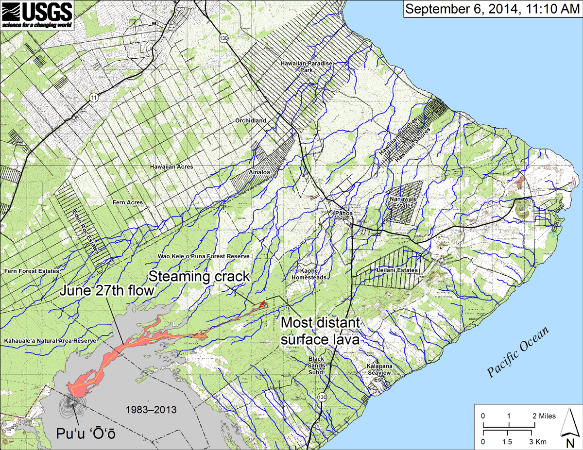 "According to USGS HVO: ""This small-scale map shows the June 27th flow in Kīlauea's East Rift Zone as of September 6, 2014. The area of the flow on September 3 is shown in pink, while widening and advancement of the flow as mapped on September 6 at ~11:10 AM is shown in red. The front of the active flow was 13.2 km (8.2 miles) from the vent and 1.4 km (0.9 miles) from the east boundary of the Wao Kele o Puna Forest Reserve, and was advancing toward the north, roughly parallel to the Forest Reserve boundary. The blue lines show down-slope paths calculated from a 1983 digital elevation model (DEM). For an explanation of down-slope path calculations, see: http://pubs.usgs.gov/of/2007/1264/. All older Puʻu ʻŌʻō lava flows (1983–2014) are shown in gray; the yellow line marks the lava tube."""